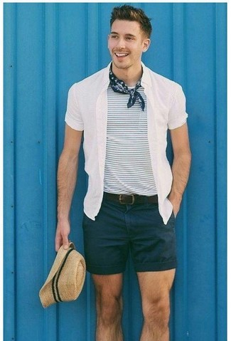 How to wear: white short sleeve shirt, white and navy horizontal striped crew-neck t-shirt, black shorts, beige straw hat