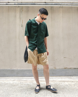 How to wear: dark green short sleeve shirt, white crew-neck t-shirt, tan shorts, black leather loafers
