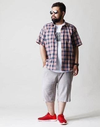How to Wear Grey Shorts For Men: Marry a white and red and navy plaid short sleeve shirt with grey shorts and you'll be prepared for wherever this day takes you. For a more laid-back aesthetic, complement this outfit with a pair of red athletic shoes.