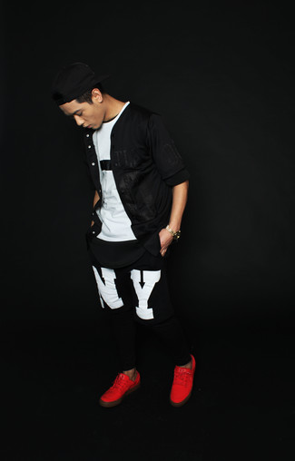 How to wear: black short sleeve shirt, white and black crew-neck t-shirt, black and white print sweatpants, red low top sneakers