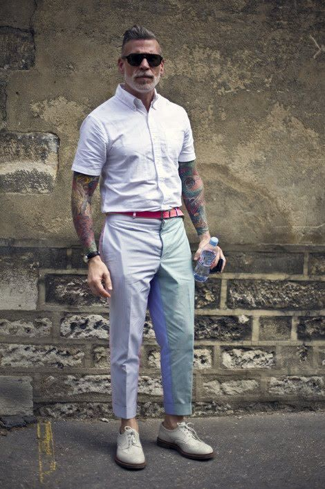 Opt For A White Short Sleeve Shirt And Dress Pants Sharp Fashionable Look