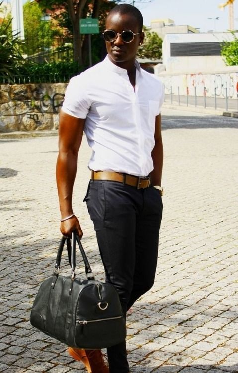 Men's White Short Sleeve Shirt, Black Dress Pants, Tobacco Leather ...