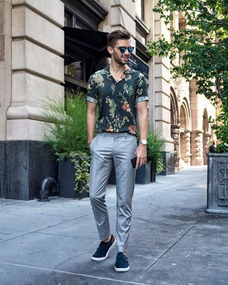 How to wear: dark green floral short sleeve shirt, grey dress pants, navy suede double monks, blue sunglasses