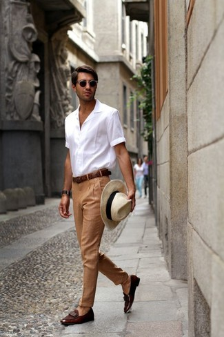 How to wear: white short sleeve shirt, khaki dress pants, dark brown leather loafers, beige straw hat
