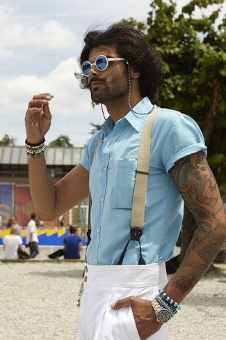 How to wear: light blue short sleeve shirt, white dress pants, blue sunglasses, beige suspenders