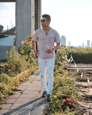 How to Wear a Pink Short Sleeve Shirt For Men: If you're planning for a fashion situation where comfort is prized, try pairing a pink short sleeve shirt with white ripped jeans. Tone down the casualness of this outfit with a pair of charcoal leather double monks.