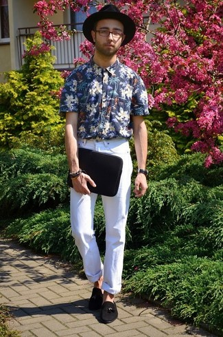 Rock a navy and white floral shirt with white jeans for a trendy and easy going look. A cool pair of black suede tassel loafers is an easy way to upgrade your look.