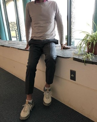 White Long Sleeve T-Shirt Outfits For Men: Opt for a white long sleeve t-shirt and charcoal dress pants to look truly sharp anywhere anytime. Finishing with beige athletic shoes is a simple way to bring a more casual spin to your outfit.