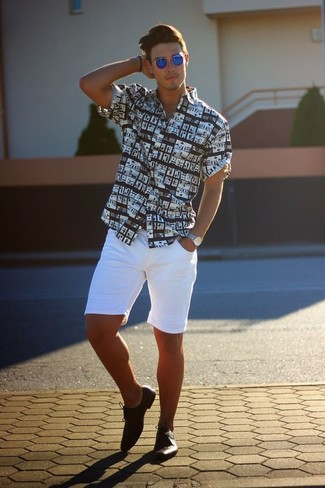 How to wear: black and white print short sleeve shirt, white shorts, black leather derby shoes, blue sunglasses