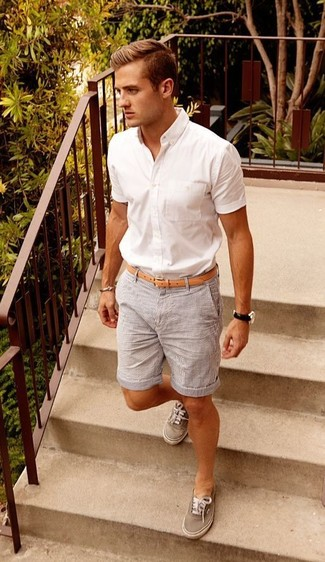 Men's White Short Sleeve Shirt, Grey Vertical Striped Shorts, Grey Low Top Sneakers, Tan Leather Belt