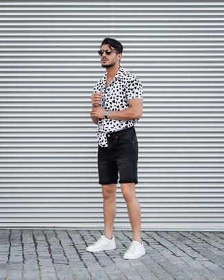 Men's White and Black Print Short Sleeve Shirt, Black Denim Shorts, White Leather Low Top Sneakers, Dark Brown Sunglasses