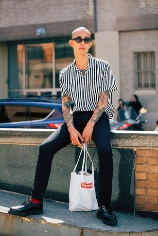 Black Jeans with Black Vertical Striped Shirt Outfits For Men: A black vertical striped shirt and black jeans are absolute menswear must-haves that will integrate brilliantly within your current styling arsenal. If you want to feel a bit fancier now, introduce black leather derby shoes to the equation.