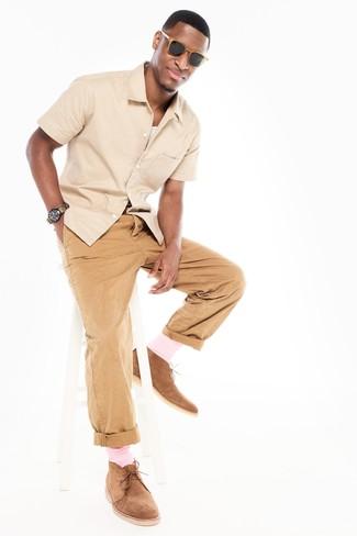 Men's Beige Short Sleeve Shirt, White Tank, Khaki Chinos, Tan Suede Desert Boots