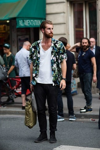 How to wear: black floral short sleeve shirt, white tank, black chinos, black suede desert boots