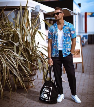 How to wear: aquamarine print short sleeve shirt, white tank, black chinos, white leather low top sneakers