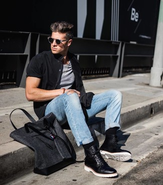 How to wear: black short sleeve shirt, grey tank, light blue jeans, black leather casual boots