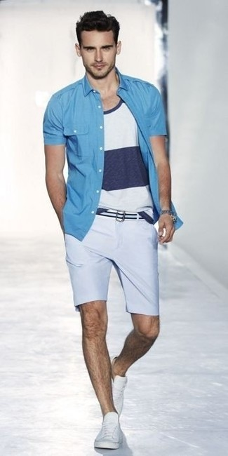 How to wear: aquamarine short sleeve shirt, white and navy horizontal striped tank, light blue shorts, white plimsolls
