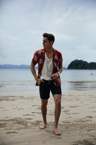 How to wear: burgundy floral short sleeve shirt, white tank, black shorts, black sunglasses