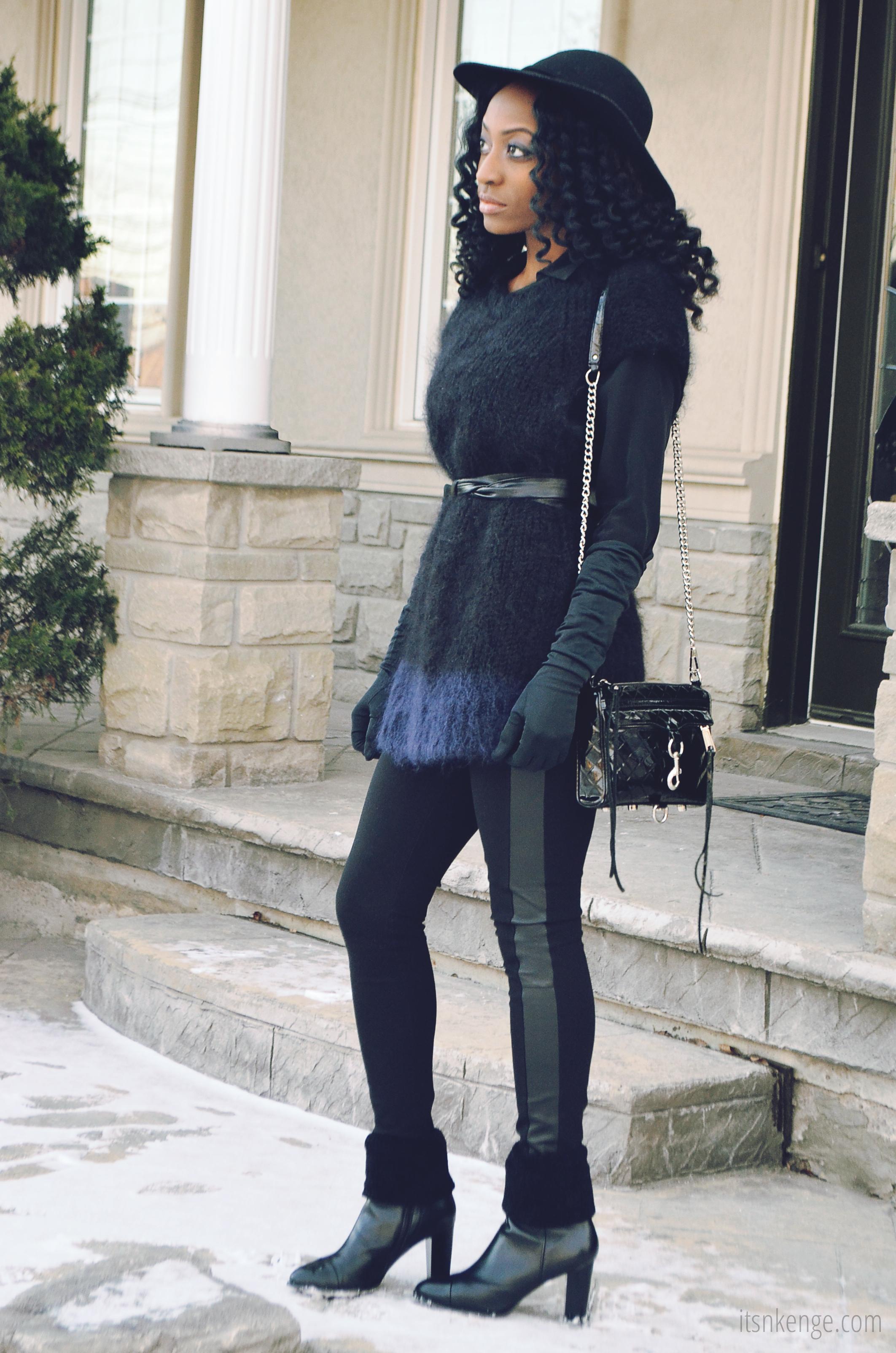 Short Sweater Dress with Leggings