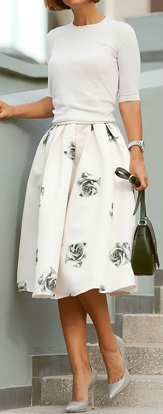 How to wear: white short sleeve sweater, white floral full skirt, grey leather pumps, olive leather crossbody bag