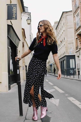 How to wear: black short sleeve sweater, black and white polka dot midi skirt, pink leather ankle boots, red bandana