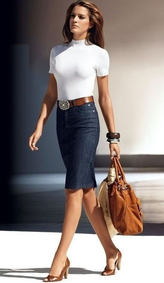 How to wear: white short sleeve sweater, navy denim pencil skirt, tobacco cutout leather pumps, tobacco leather tote bag