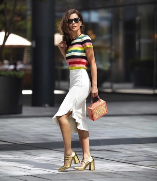 How to wear: multi colored horizontal striped short sleeve sweater, white ruffle pencil skirt, gold leather pumps, multi colored leather handbag