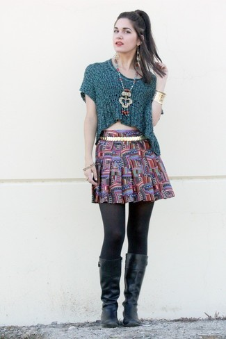 Women's Teal Short Sleeve Sweater, Multi colored Print Skater Skirt, Black Leather Knee High Boots, Gold Belt
