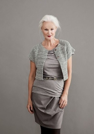 How to wear: grey shrug, grey short sleeve blouse, grey pencil skirt, grey snake leather belt