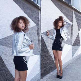 Rock a silver biker jacket with a black and white print bodycon dress for a glam and trendy getup. Play down the casualness of your look with black chunky leather pumps. When it's one of those gloomy fall days, sometimes only a knockout outfit like this one can cheer it up.