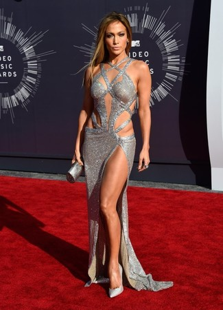 Jennifer Lopez wearing Silver Cutout Evening Dress, Silver Embellished Sequin Pumps, Silver Clutch