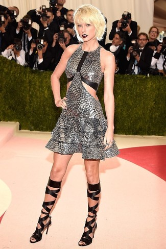 Taylor Swift wearing Silver Fit and Flare Dress, Black Leather Knee High Gladiator Sandals