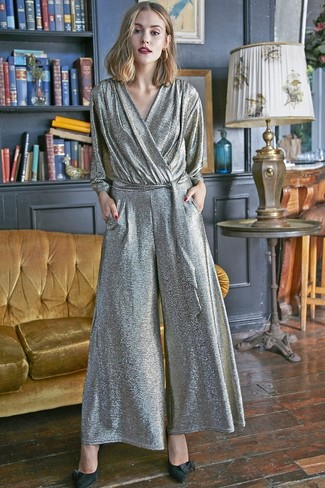 Women's Silver Jumpsuit, Black Suede Pumps, Gold Earrings