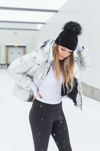 Consider pairing a silver puffer jacket with a Barefoot Dreams Beanie to be both cool and relaxed. Mastering springtime fashion is easy with style inspiration like this.