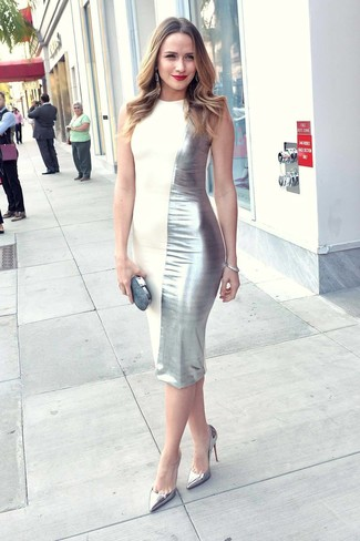 How to wear: silver sheath dress, silver leather pumps, silver embellished clutch