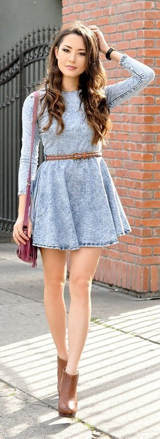 How to wear: light blue denim skater dress, tobacco leather ankle boots, burgundy leather crossbody bag, tobacco leather belt