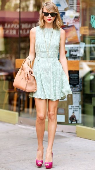 Taylor Swift wearing Mint Skater Dress, Hot Pink Leather Pumps, Tan Leather Tote Bag, Black Sunglasses