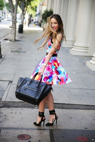 Choose a multi colored print skater dress for a standout ensemble. Take a classic approach with the footwear and grab a pair of black suede pumps. Is there a nicer option for a summertime day?
