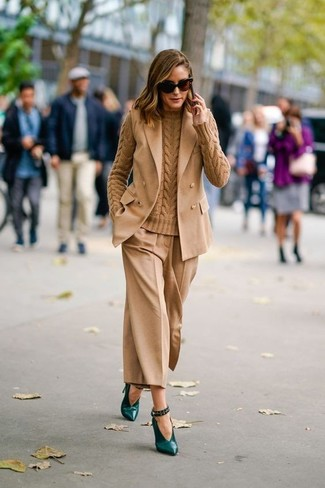 How to wear: tan sleeveless blazer, tan cable sweater, tan culottes, dark green leather pumps