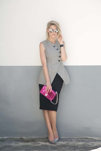 How to Wear Silver Leather Pumps: Chic yet functional, this getup features a grey sleeveless blazer and a black pencil skirt. To give your ensemble a sleeker spin, why not add silver leather pumps to the equation?