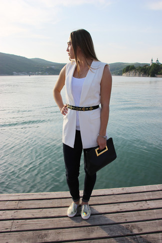 How to wear: white sleeveless blazer, white tank, black jeans, gold leather slip-on sneakers