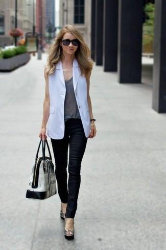 How to wear: white sleeveless blazer, grey tank, black leather skinny jeans, black leather pumps