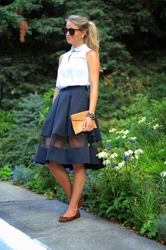How to wear: white sleeveless button down shirt, black mesh full skirt, brown leopard suede ballerina shoes, tan leather clutch