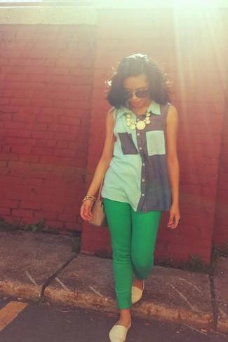 Viparo Chambray Leather Sleeveless Shirt
