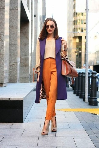 How to wear: purple sleeveless coat, beige crew-neck sweater, orange tapered pants, beige cutout suede ankle boots
