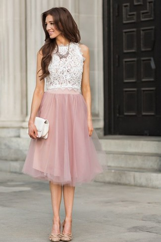 How to wear: white lace sleeveless top, pink lace full skirt, beige leather pumps, white leather clutch