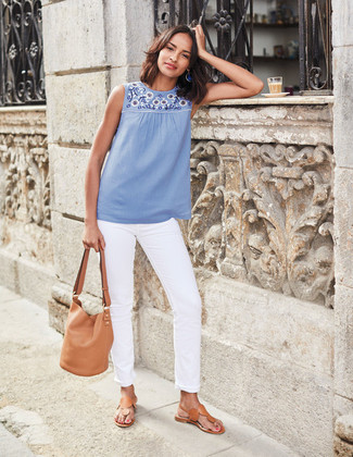 How to wear: light blue embroidered sleeveless top, white jeans, tan leather thong sandals, tan leather bucket bag