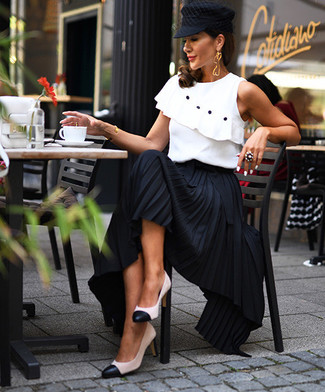 How to wear: white ruffle sleeveless top, black pleated maxi skirt, white and black leather pumps, black flat cap