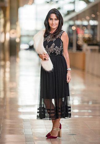 How to wear: black embellished sleeveless top, black pleated chiffon midi skirt, burgundy suede pumps, white fur scarf