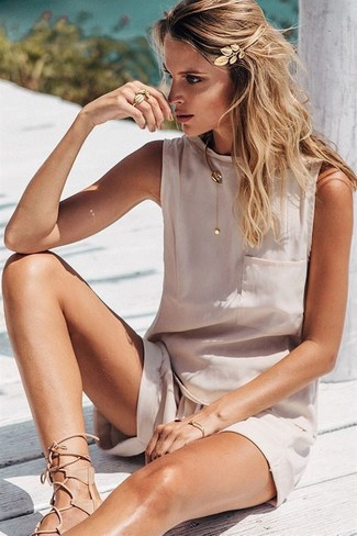 How to wear: beige silk sleeveless top, beige shorts, beige leather gladiator sandals, gold headband